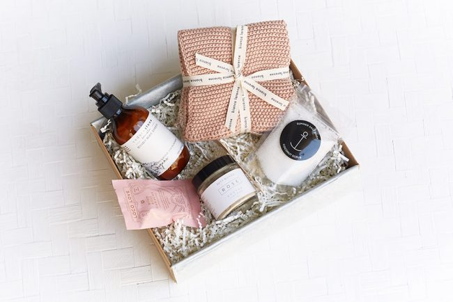 Photo of products curated by The Wholesome Gift Box for a Christmas natural gift box